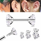 316L Double CZ Cartilage Stud Earring - Internally Threaded 16G