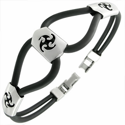 Dual Silicone & Stainless Steel Bracelet - Tribal Blades