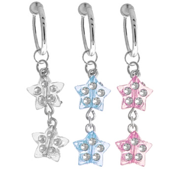 (DISCONTINUED) Fake Dangling Belly Button Ring - Double Stars