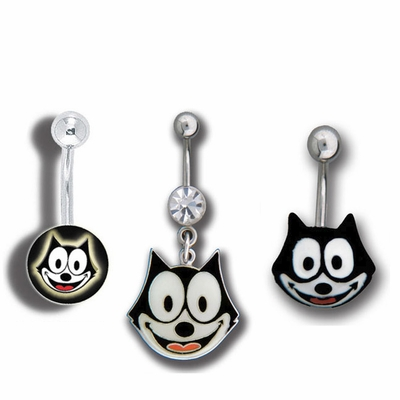 Felix the Cat Belly Button Ring