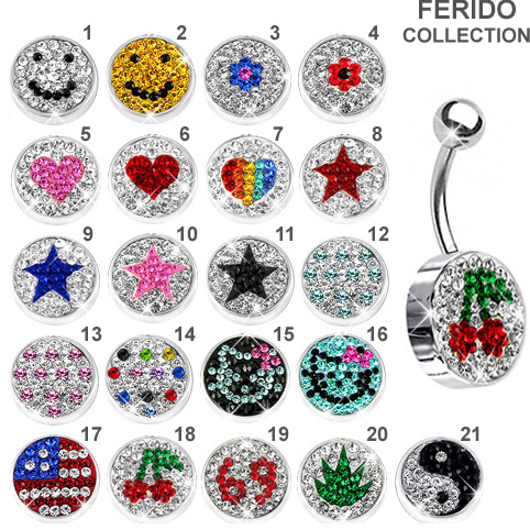 Ferido Pave Crystal Logo Belly Button Ring Collection