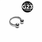 G23 Solid Titanium Horseshoe Ring - 16 Gauge