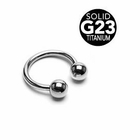 G23 Solid Titanium Horseshoe Ring - 14 Gauge