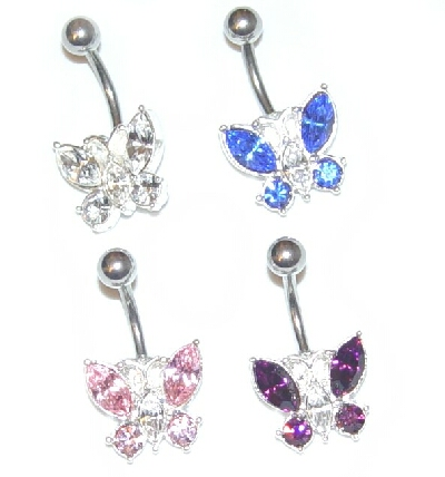 gem butterfly belly button ring