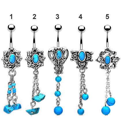 Genuine Turquoise Belly Button Ring