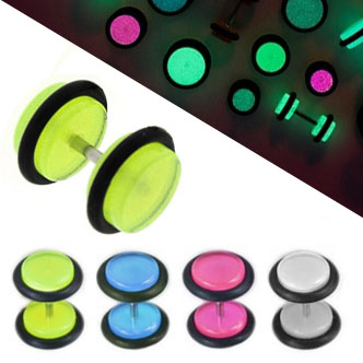 Acrylic fake Plug Stainless Surgical Steel glow in the dark green enamel 8mm
