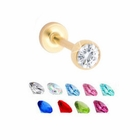 Gold Finished Gem Monroe / Tragus / Cartilage Earring