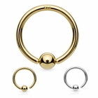 14K Solid Gold Attached Ball Hoop Ring for Nose, Eyebrow, Daith, Cartilage