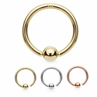 14K Gold Attached Ball Hoop Ring for Nose, Eyebrow, Daith, Cartilage - 22G, 20G, 18G, 16G
