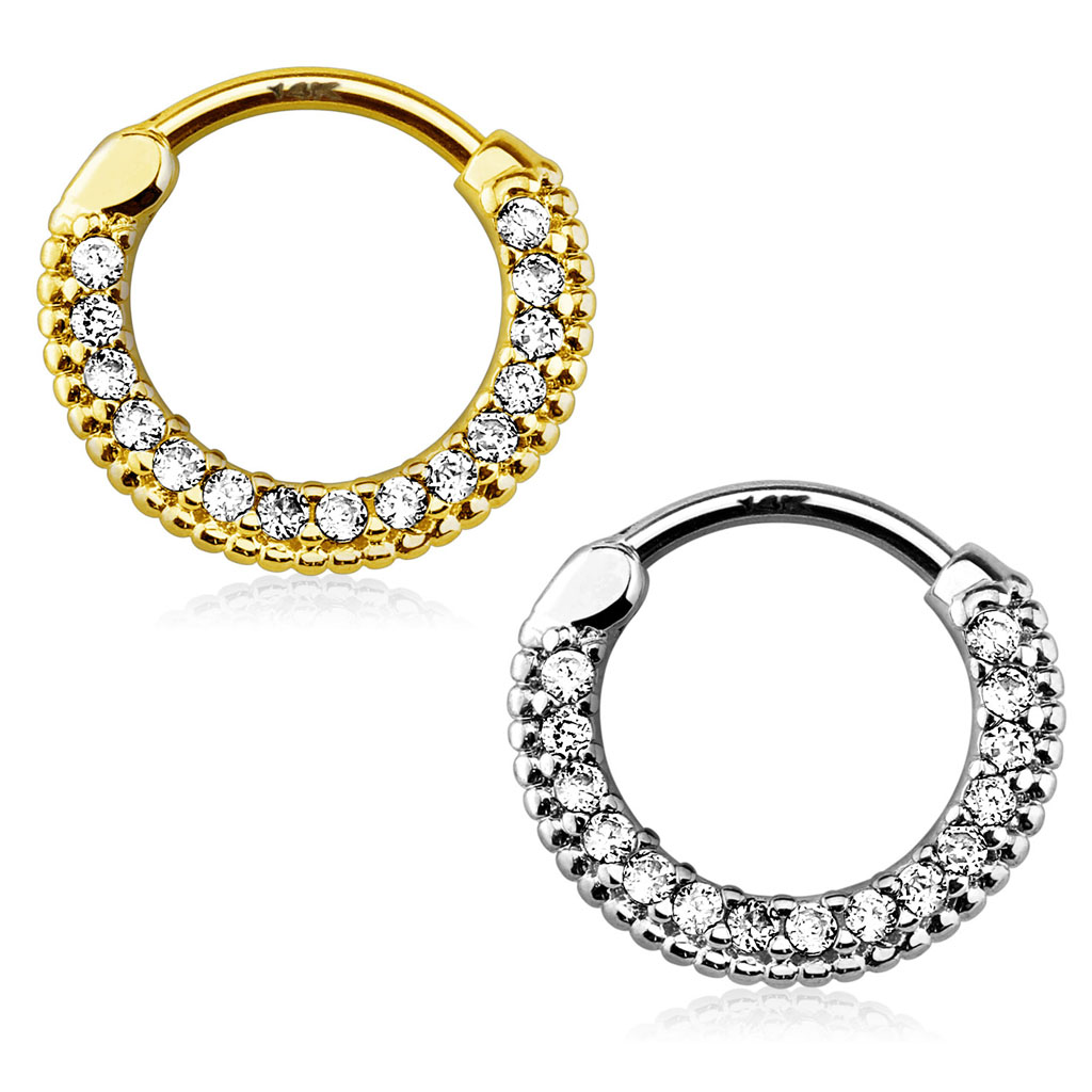 14k Gold Round Pave 16g Clicker For Cartilage Helix
