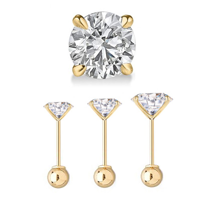 Out Of Stock 14k Gold Cz Stud Single Cartilage Ball Back Earring