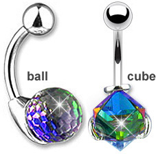 2c2a0999f Iridescent Swarovski Crystal Magic Belly Button Ring. Hover to zoom