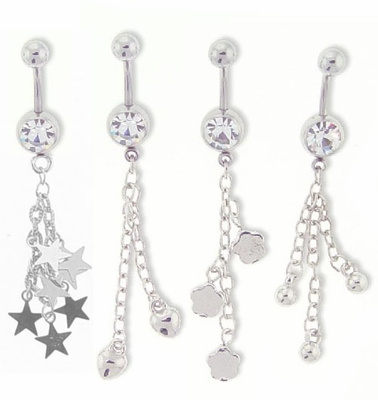 Italian Chain Dangling Belly Button Ring