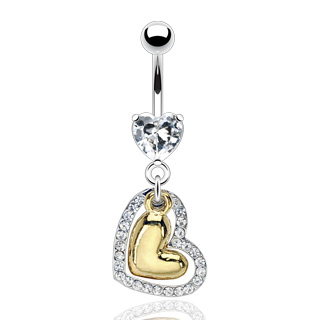 Jeweled And Gold Plated Heart Belly Button Ring