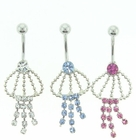 Jeweled Chain and Rope Belly Button Ring