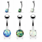 Opal Prong-Set Belly Button Ring