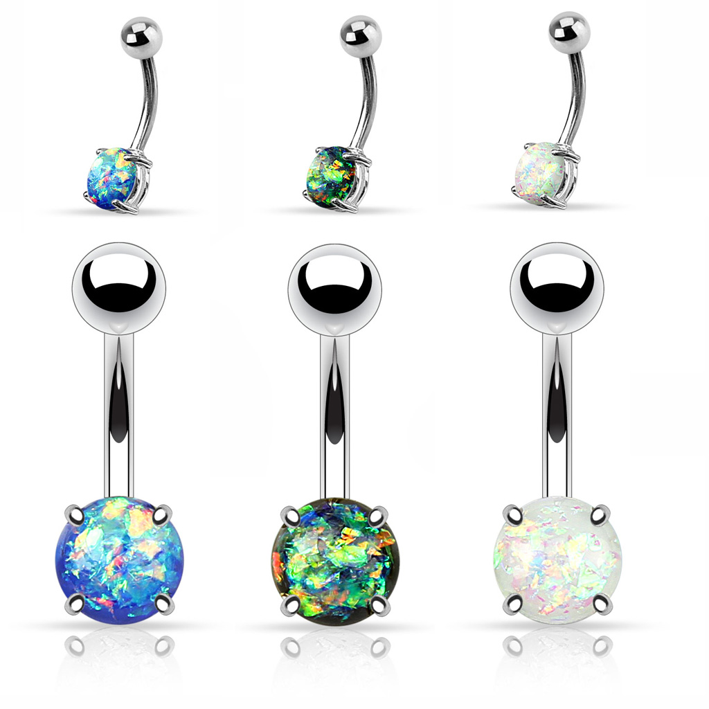 Opal Prong Setting Belly Button Ring
