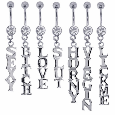 Jeweled Dangling Words Belly Button Ring
