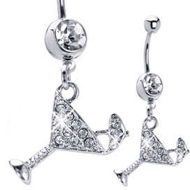 Martini Glass Belly Button Rings