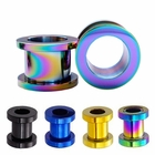 Pair of Mix & Match Titanium Anodized Thread Tunnel Plug Earrings