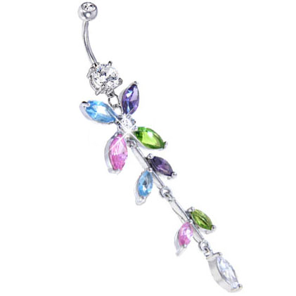 Multi color petal flower cz belly button ring for Multi colored rose petals