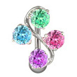 Multi-Color Vine CZ Belly Button Ring