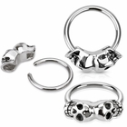 Double Skull Captive for Lip Ring, Nipple Ring, Cartilage