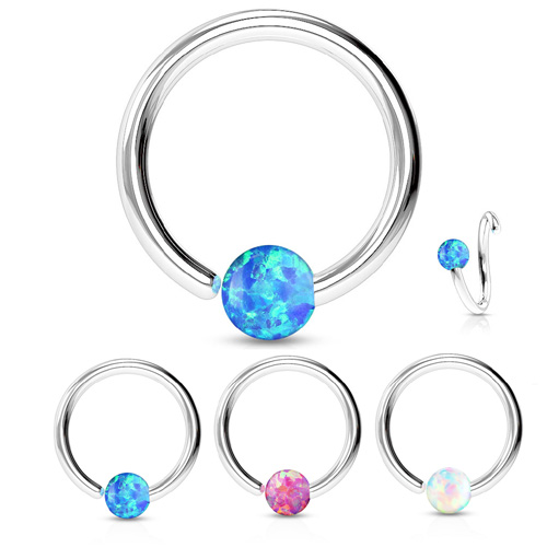 Jewelry Watches Body Piercing Jewelry 7 Opal Stone Bendable Cartilage Hoop Daith Nose Septum Solid 316l Surgical