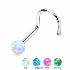 Opal Ball Nose Stud Ring - 18G, 20G Screw Type
