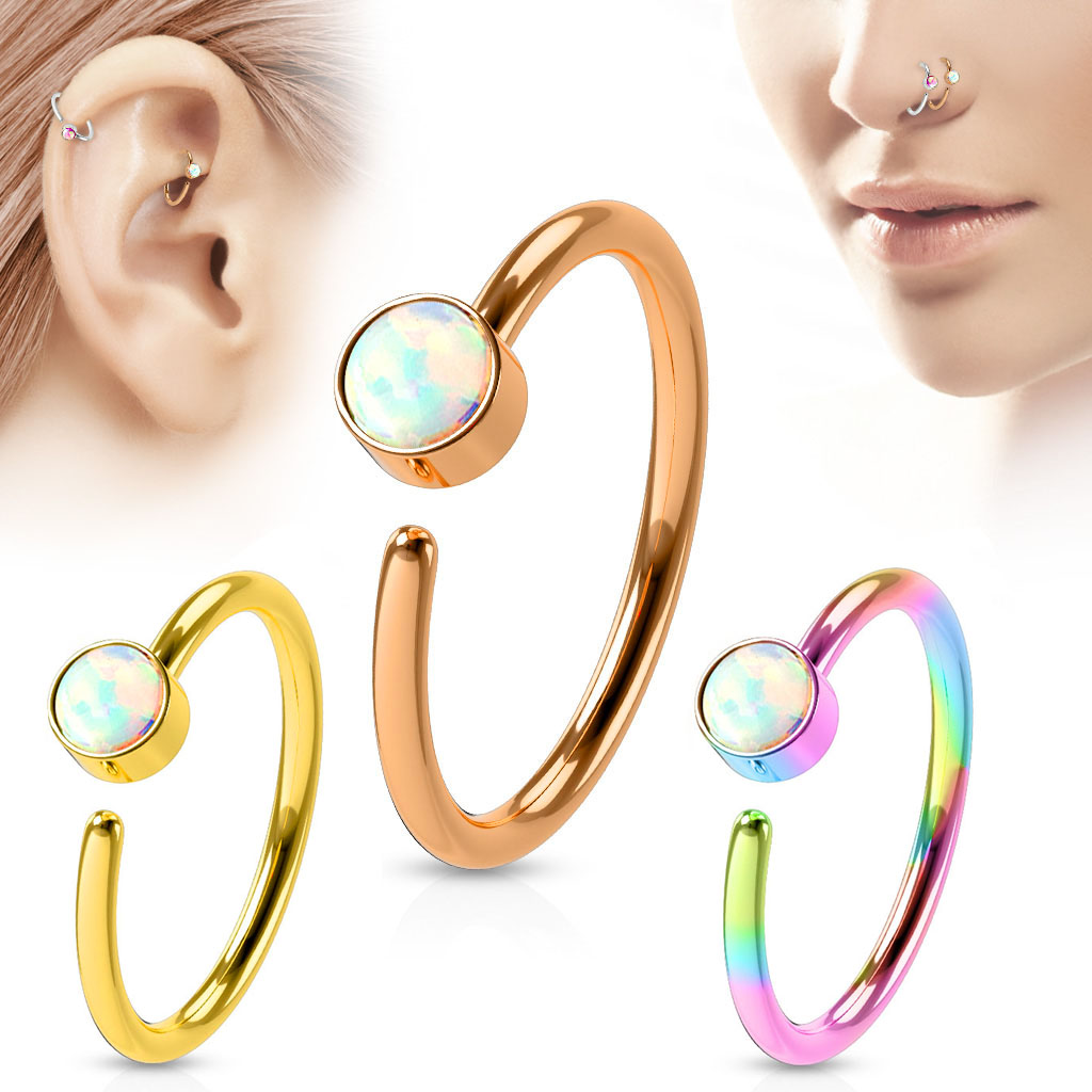 Opal Ip 316l 20g Hoop Ring For Nose Cartilage Daith