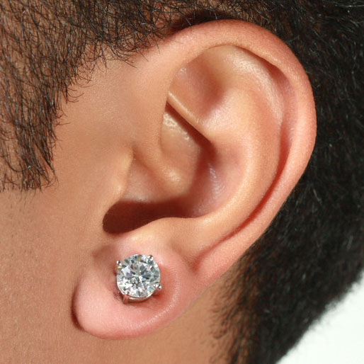 Round Cz Magnetic Stud Earrings