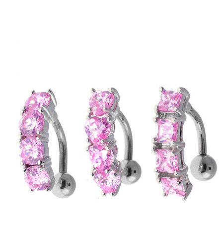 Pink Reverse Cz Huggy Belly Button Ring