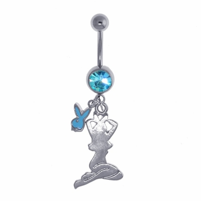 Playboy Mud Flap Style Belly Button Ring