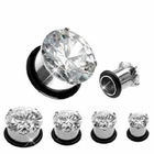 Prong-Set CZ Surgical Steel Plug Earring