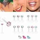 PTFE Push-In Prong-Set CZ Stud for Monroe, Labret, Tragus, Helix Earring