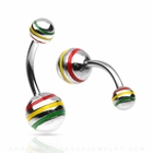 Rasta Stripe Belly Button Ring  (OUT OF STOCK)