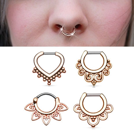 Rose Gold Clicker Ring For Septum Cartilage Daith Earring