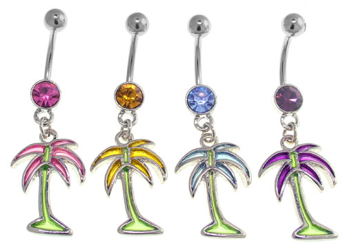 Stained Glass Palm Tree Belly Button Ring