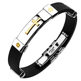 Stainless Steel & Silicone Bracelet - Gold Cross