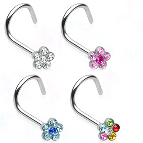 Surgical Steel Daisy Nose Ring - Screw Type