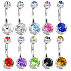 6040a85d7 Swarovski Crystal Double Gem Belly Button Ring. Hover to zoom