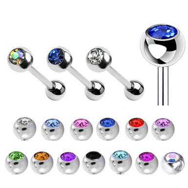 Swarovski Crystal Gem Tongue Ring Barbell
