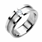 Tension-Setting 316L Stainless Steel Ring - CZ