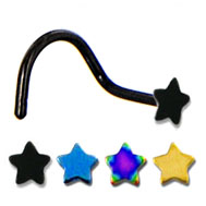 Titanium Anodized Nose Ring - Screw Type - STAR