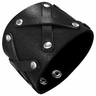 Trendy Celeb Black Leather Cuff - Warrior