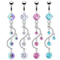 Vine CZ Drops Belly Button Ring