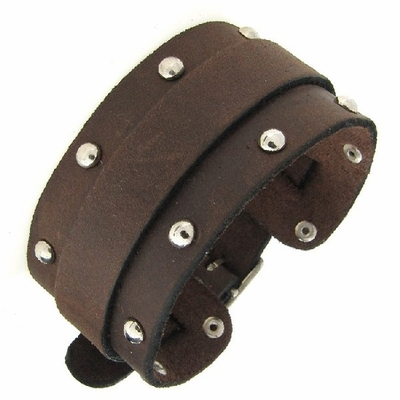 Watch Attachable Studded Brown Leather Cuff