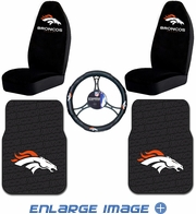 Auto Accessories Interior Combo Kit Gift Set - 5pc - NFL - Denver Broncos