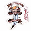 Cling Bling Decal - Ed Hardy Death Before Dishonor Eagle On Knife Design