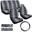 Combo Kit Gift Set - Automotive Interior - 11pc - Car Truck SUV - Animal Print - Leopard - Grey